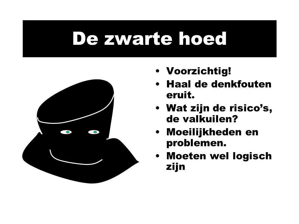 De zwarte hoed Voorzichtig! Haal de denkfouten eruit. Wat zijn de risico's, de valkuilen? Moeilijkheden en problemen. Moeten wel logisch zijn