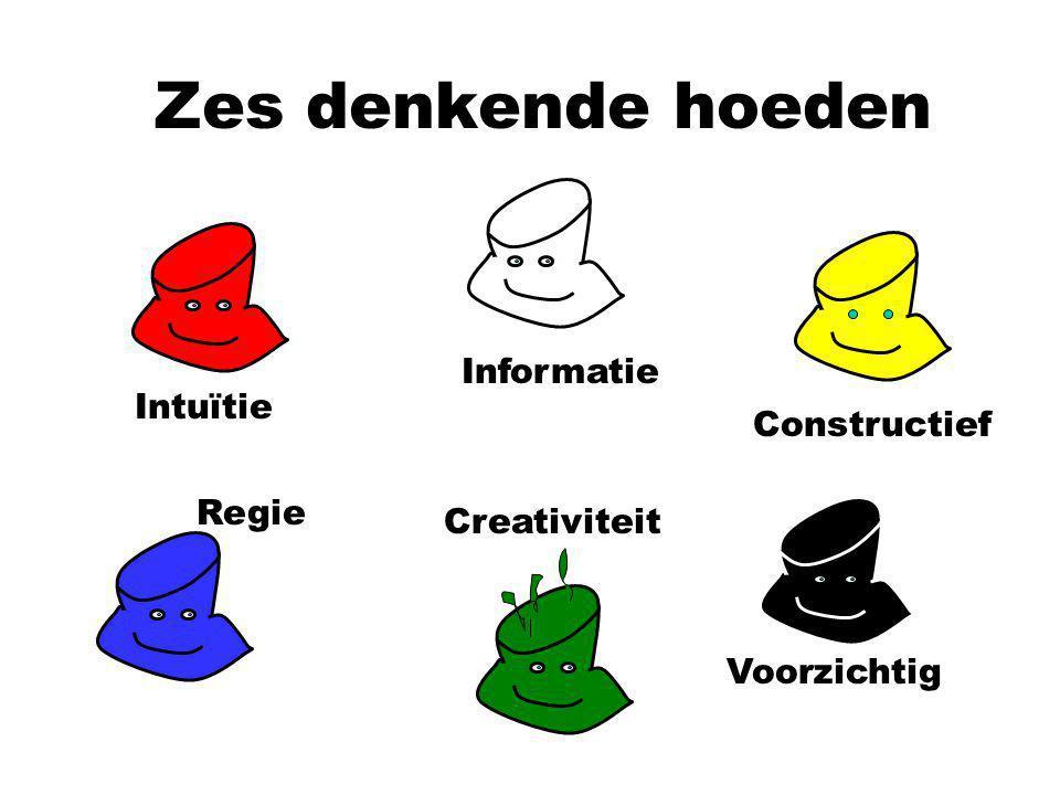 Zes denkende hoeden Intuïtie Informatie Constructief Voorzichtig Creativiteit Regie
