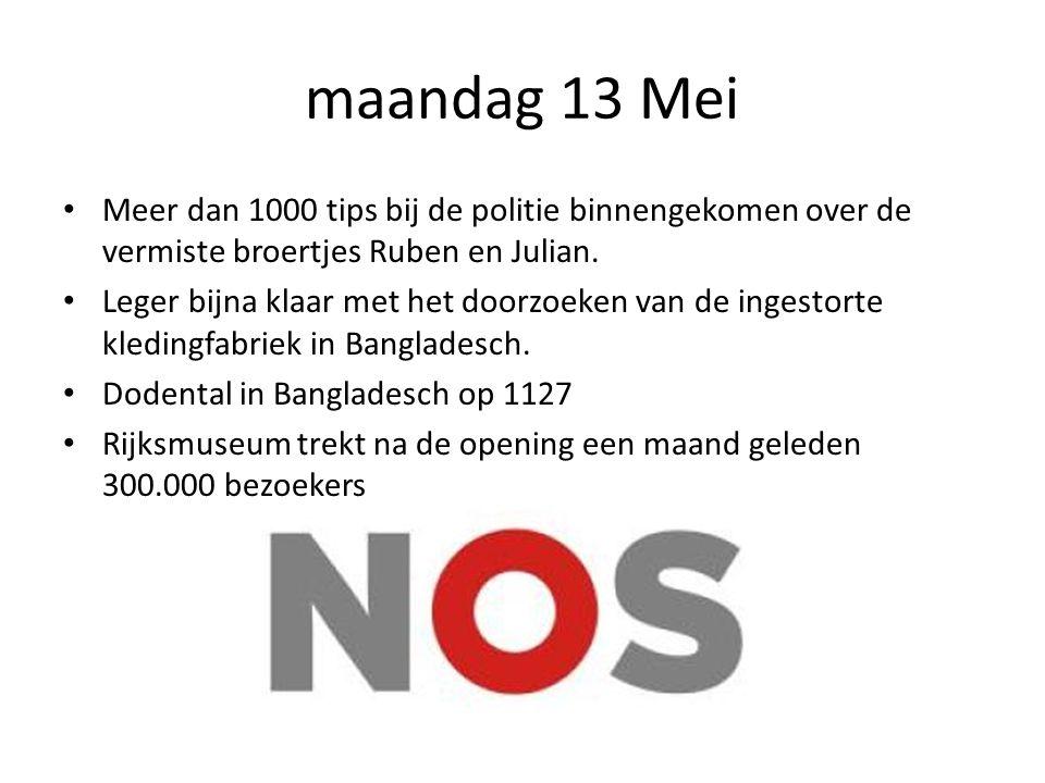 maandag 13 Mei Meer dan 1000 tips bij de politie binnengekomen over de vermiste broertjes Ruben en Julian.
