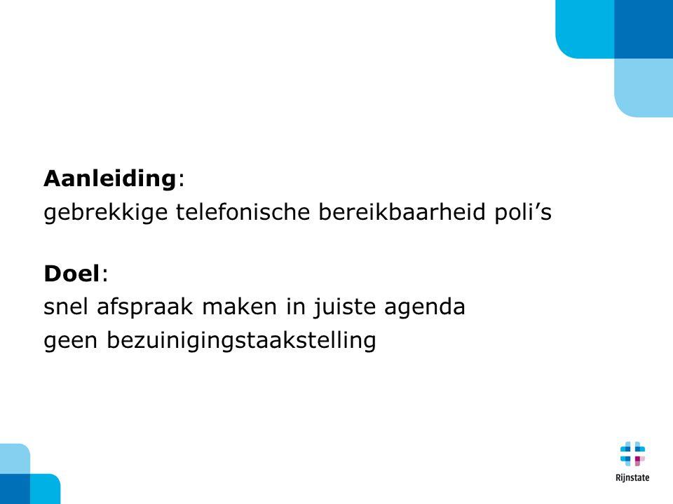 Aanleiding: gebrekkige telefonische bereikbaarheid poli's Doel: snel afspraak maken in juiste agenda geen bezuinigingstaakstelling