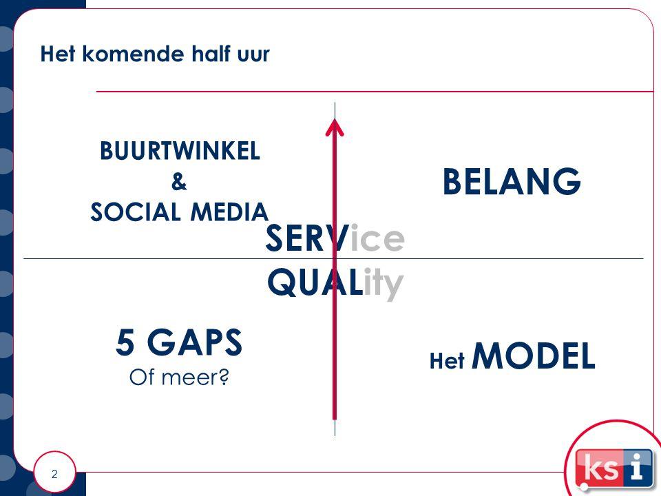 Het komende half uur 2 SERVice QUALity BELANG Het MODEL 5 GAPS Of meer? BUURTWINKEL & SOCIAL MEDIA