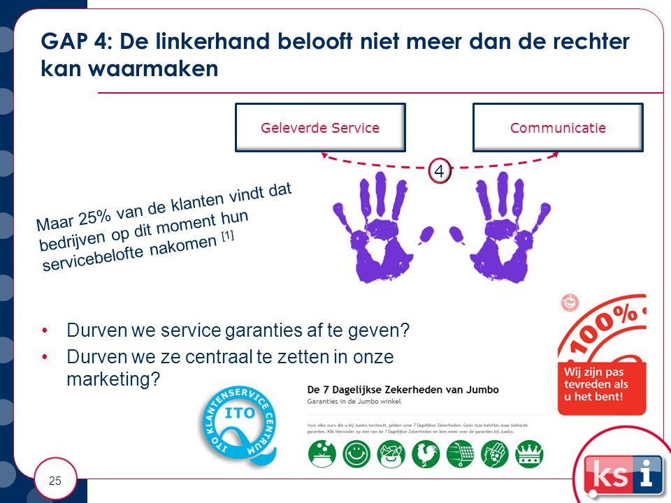 GAP 4: De linkerhand belooft niet meer dan de rechter kan waarmaken 25 Geleverde ServiceCommunicatie 4 Maar 25% van de klanten vindt dat bedrijven op dit moment hun servicebelofte nakomen [1] Durven we service garanties af te geven.