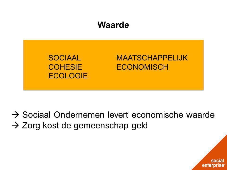 Waarde  Sociaal Ondernemen levert economische waarde  Zorg kost de gemeenschap geld SOCIAALMAATSCHAPPELIJK COHESIEECONOMISCH ECOLOGIE