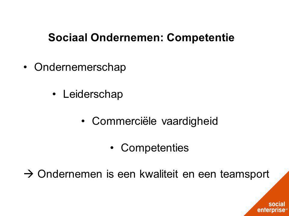 Sociaal Ondernemen: Competentie Ondernemerschap Leiderschap Commerciële vaardigheid Competenties  Ondernemen is een kwaliteit en een teamsport