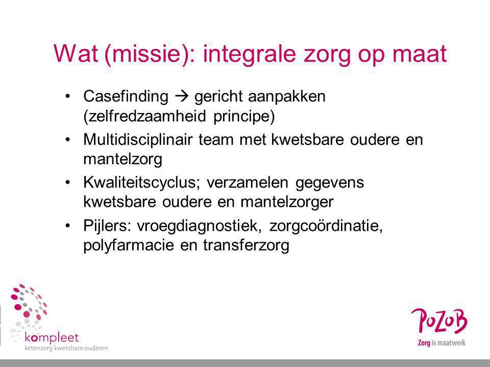 Wat (missie): integrale zorg op maat Casefinding  gericht aanpakken (zelfredzaamheid principe) Multidisciplinair team met kwetsbare oudere en mantelz