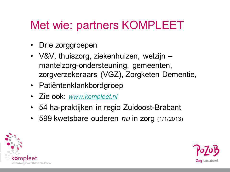 Met wie: partners KOMPLEET Drie zorggroepen V&V, thuiszorg, ziekenhuizen, welzijn – mantelzorg-ondersteuning, gemeenten, zorgverzekeraars (VGZ), Zorgk