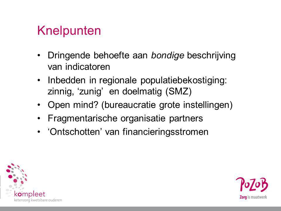Knelpunten Dringende behoefte aan bondige beschrijving van indicatoren Inbedden in regionale populatiebekostiging: zinnig, 'zunig' en doelmatig (SMZ)