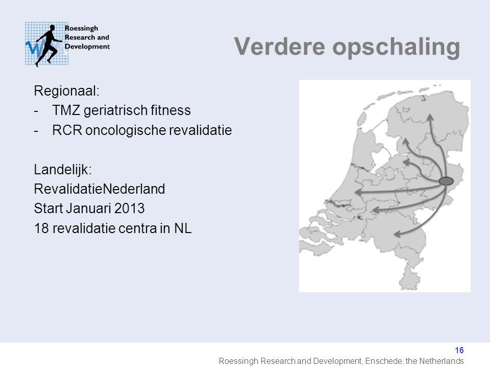 Roessingh Research and Development, Enschede, the Netherlands Regionaal: -TMZ geriatrisch fitness -RCR oncologische revalidatie Landelijk: RevalidatieNederland Start Januari 2013 18 revalidatie centra in NL Verdere opschaling 16
