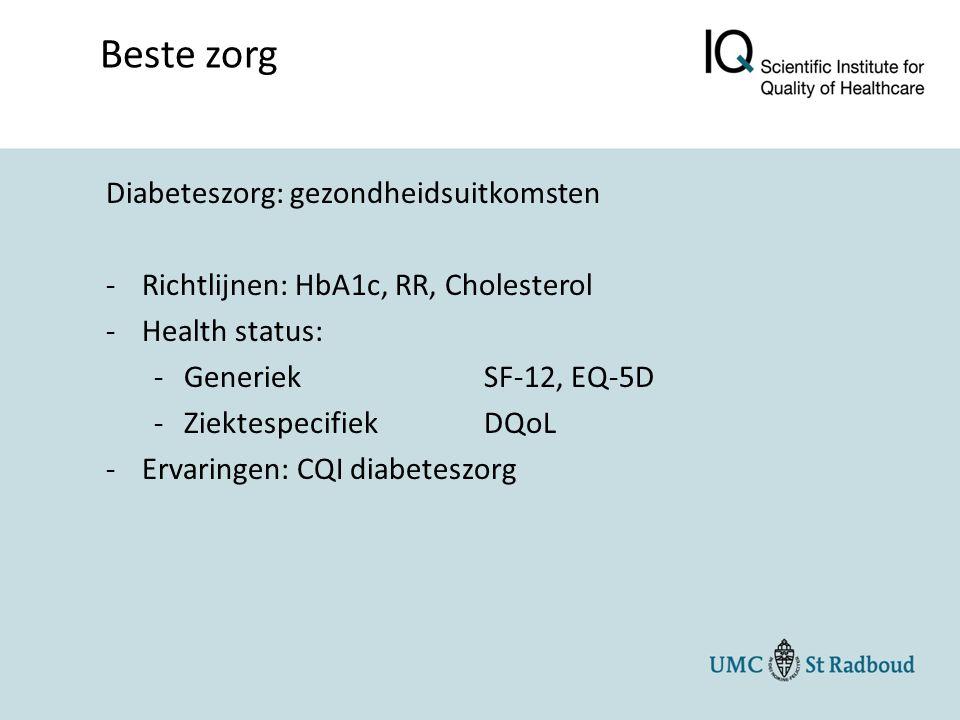 Diabeteszorg: gezondheidsuitkomsten -Richtlijnen: HbA1c, RR, Cholesterol -Health status: -GeneriekSF-12, EQ-5D -ZiektespecifiekDQoL -Ervaringen: CQI diabeteszorg Beste zorg