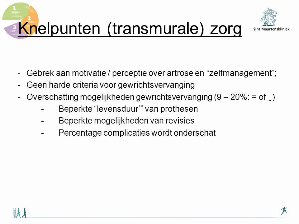 """Knelpunten (transmurale) zorg -Gebrek aan motivatie / perceptie over artrose en """"zelfmanagement""""; -Geen harde criteria voor gewrichtsvervanging -Overs"""