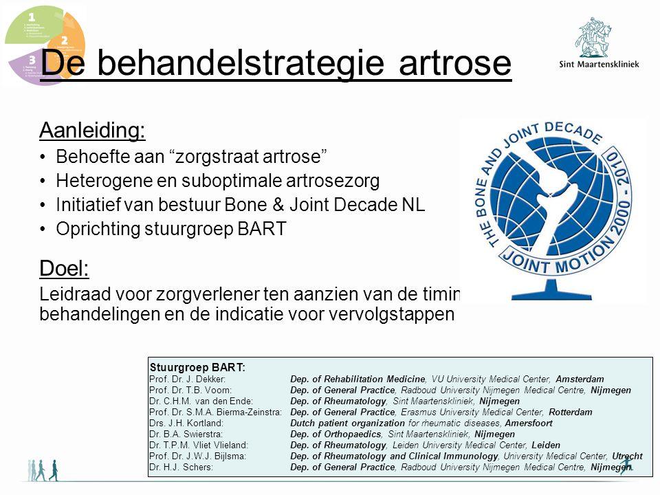 """De behandelstrategie artrose Aanleiding: Behoefte aan """"zorgstraat artrose"""" Heterogene en suboptimale artrosezorg Initiatief van bestuur Bone & Joint D"""