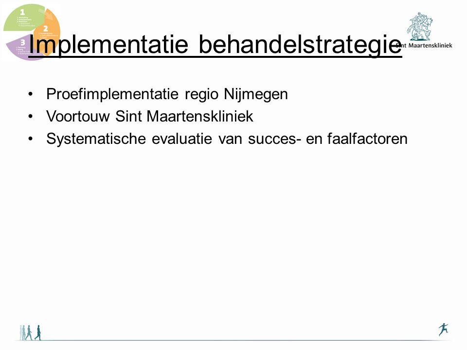 Implementatie behandelstrategie 1.Educatiemateriaal (patiënt en zorgverleners) 2.Actieve benadering van huisartsen in regio; 3.Scholingsactiviteiten (huisartsen, fysio/oefentherapeuten) 4.PR en distributie zorgwijzer 5.Implementatie zorgwijzer in zorg door Maartenskliniek 6.Work in progress: 1.Online-versie behandelstrategie 2.Artrose-netwerk