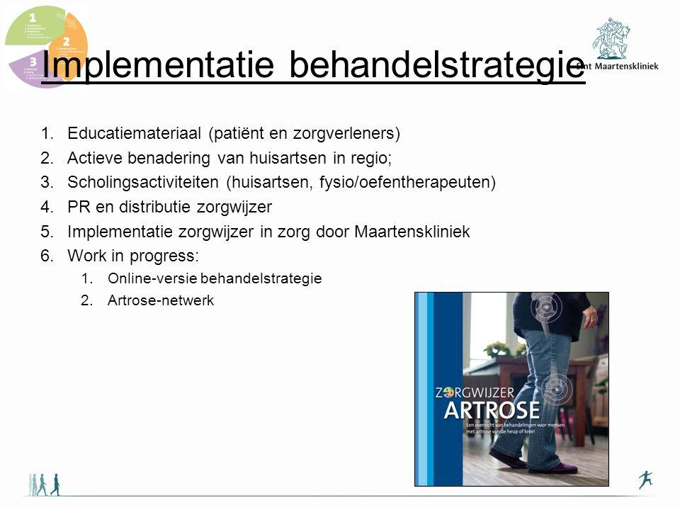 Implementatie behandelstrategie 1.Educatiemateriaal (patiënt en zorgverleners) 2.Actieve benadering van huisartsen in regio; 3.Scholingsactiviteiten (