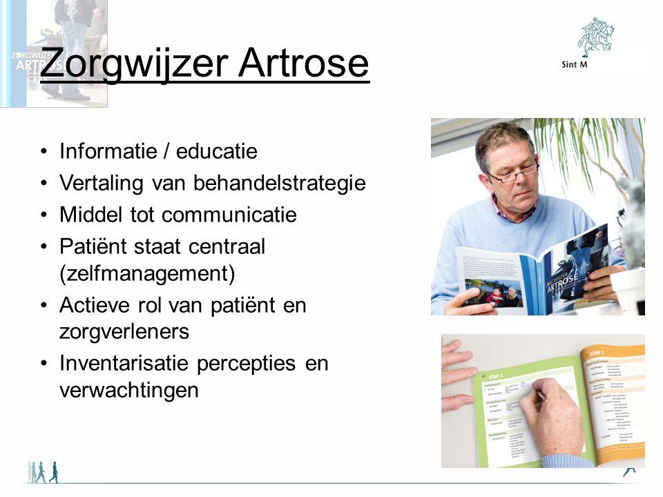 Zorgwijzer Artrose Informatie / educatie Vertaling van behandelstrategie Middel tot communicatie Patiënt staat centraal (zelfmanagement) Actieve rol v