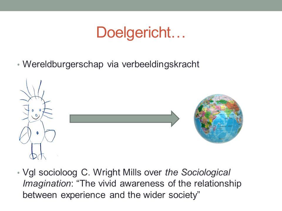 Doelgericht… Wereldburgerschap via verbeeldingskracht Vgl socioloog C.