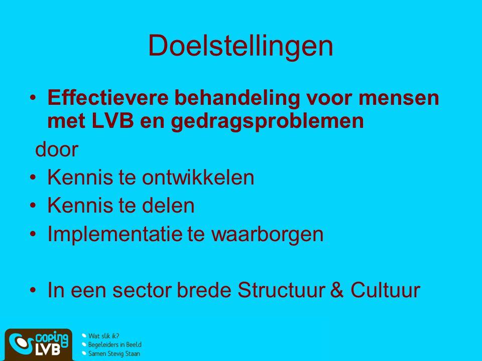 Doelstellingen Effectievere behandeling voor mensen met LVB en gedragsproblemen door Kennis te ontwikkelen Kennis te delen Implementatie te waarborgen