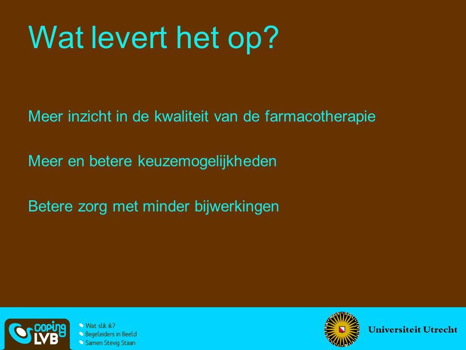 Meer inzicht in de kwaliteit van de farmacotherapie Meer en betere keuzemogelijkheden Betere zorg met minder bijwerkingen Wat levert het op?