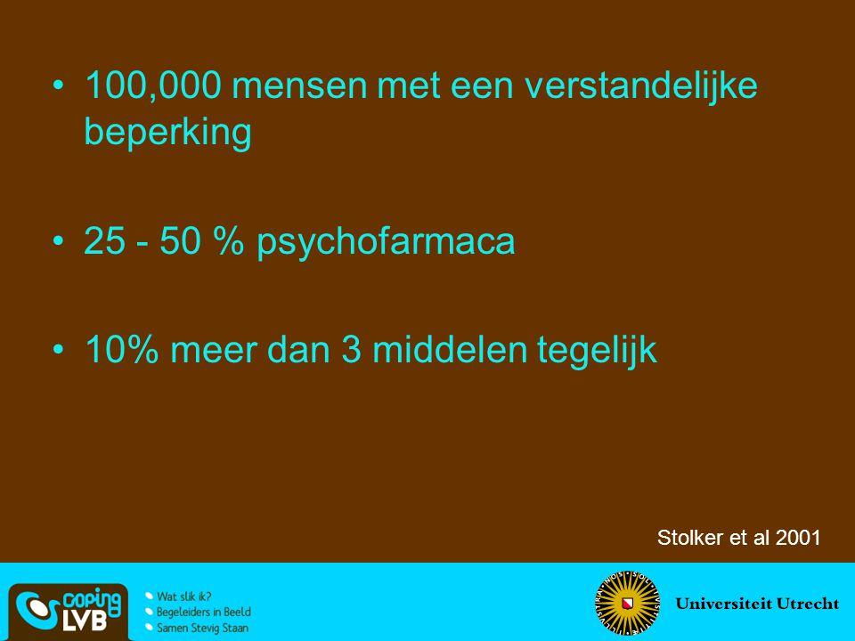 100,000 mensen met een verstandelijke beperking 25 - 50 % psychofarmaca 10% meer dan 3 middelen tegelijk Stolker et al 2001