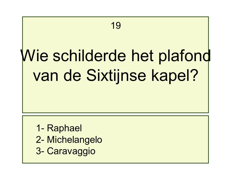1- Raphael 2- Michelangelo 3- Caravaggio 19 Wie schilderde het plafond van de Sixtijnse kapel?