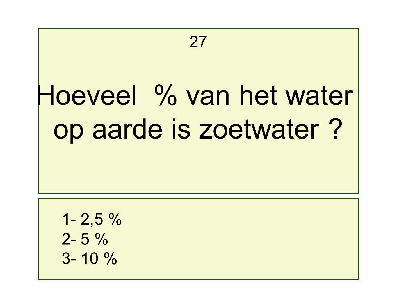 1- 2,5 % 2- 5 % 3- 10 % 27 Hoeveel % van het water op aarde is zoetwater ?