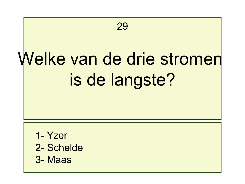 1- Yzer 2- Schelde 3- Maas 29 Welke van de drie stromen is de langste?