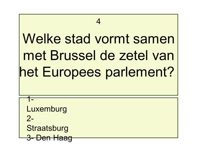 1- Luxemburg 2- Straatsburg 3- Den Haag 4 Welke stad vormt samen met Brussel de zetel van het Europees parlement?
