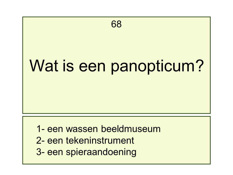 1- een wassen beeldmuseum 2- een tekeninstrument 3- een spieraandoening 68 Wat is een panopticum?