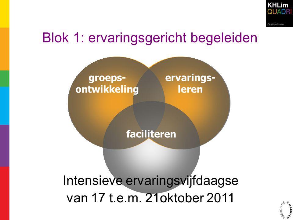 Blok 1: ervaringsgericht begeleiden groeps- ontwikkeling ervarings- leren faciliteren Intensieve ervaringsvijfdaagse van 17 t.e.m. 21oktober 2011