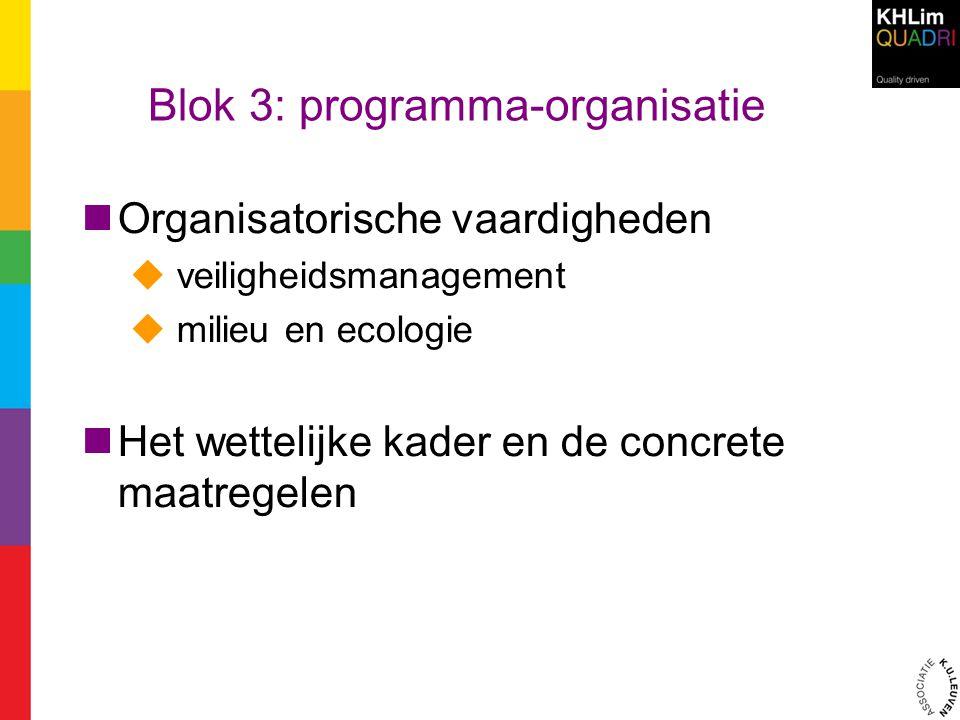 Blok 3: programma-organisatie Organisatorische vaardigheden  veiligheidsmanagement  milieu en ecologie Het wettelijke kader en de concrete maatregel