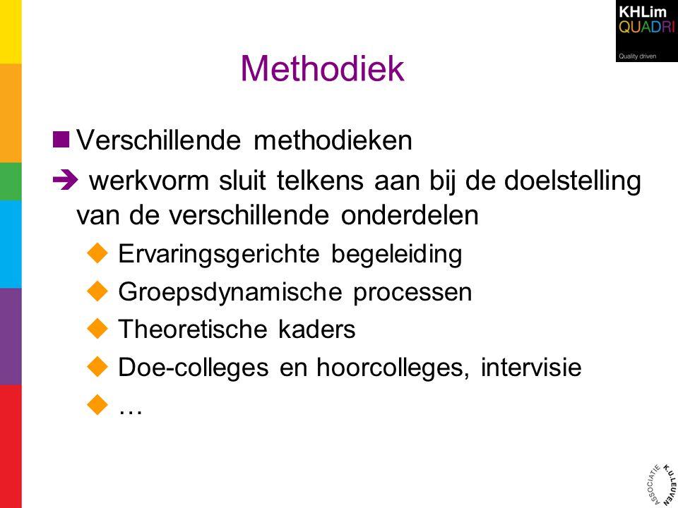 Methodiek Verschillende methodieken  werkvorm sluit telkens aan bij de doelstelling van de verschillende onderdelen  Ervaringsgerichte begeleiding 