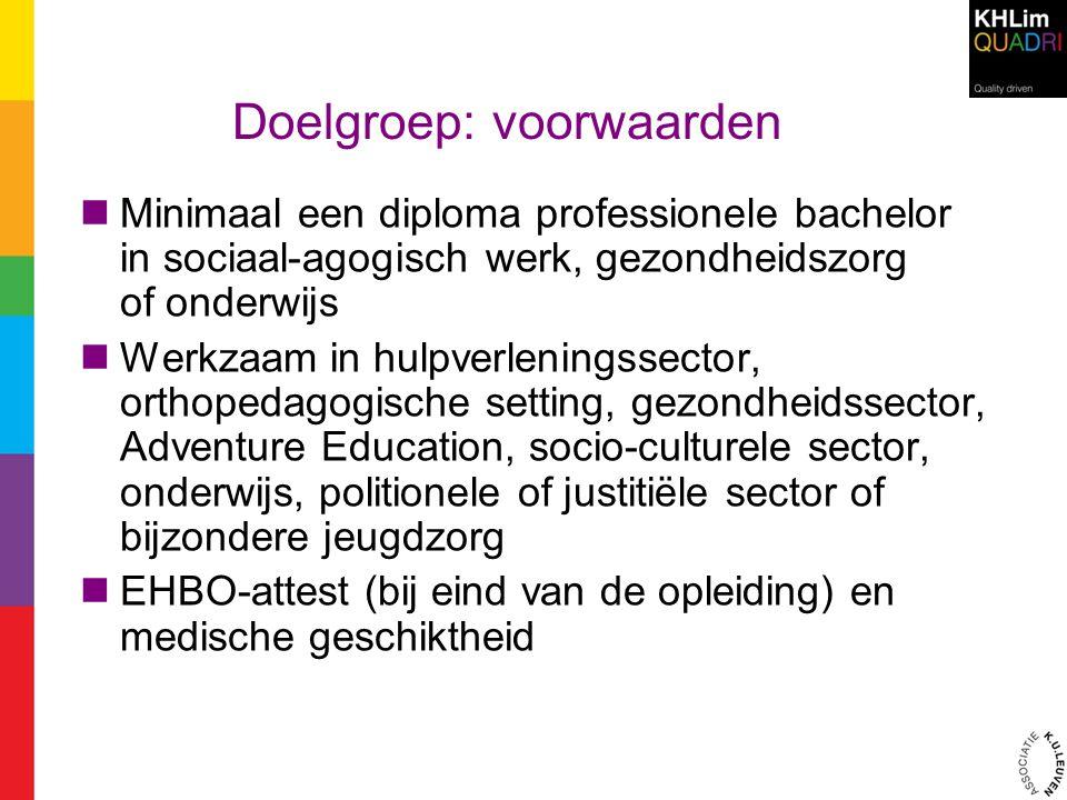 Doelgroep: voorwaarden Minimaal een diploma professionele bachelor in sociaal-agogisch werk, gezondheidszorg of onderwijs Werkzaam in hulpverleningsse