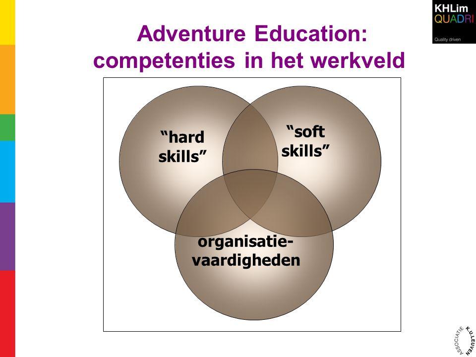 Focus van de opleiding 'Adventure Education ' hard skills organisatie- vaardigheden groeps- ontwikkeling ervarings- leren faciliteren