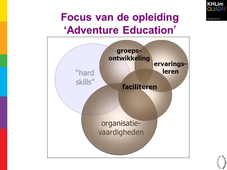 """Focus van de opleiding 'Adventure Education ' """"hard skills"""" organisatie- vaardigheden groeps- ontwikkeling ervarings- leren faciliteren"""