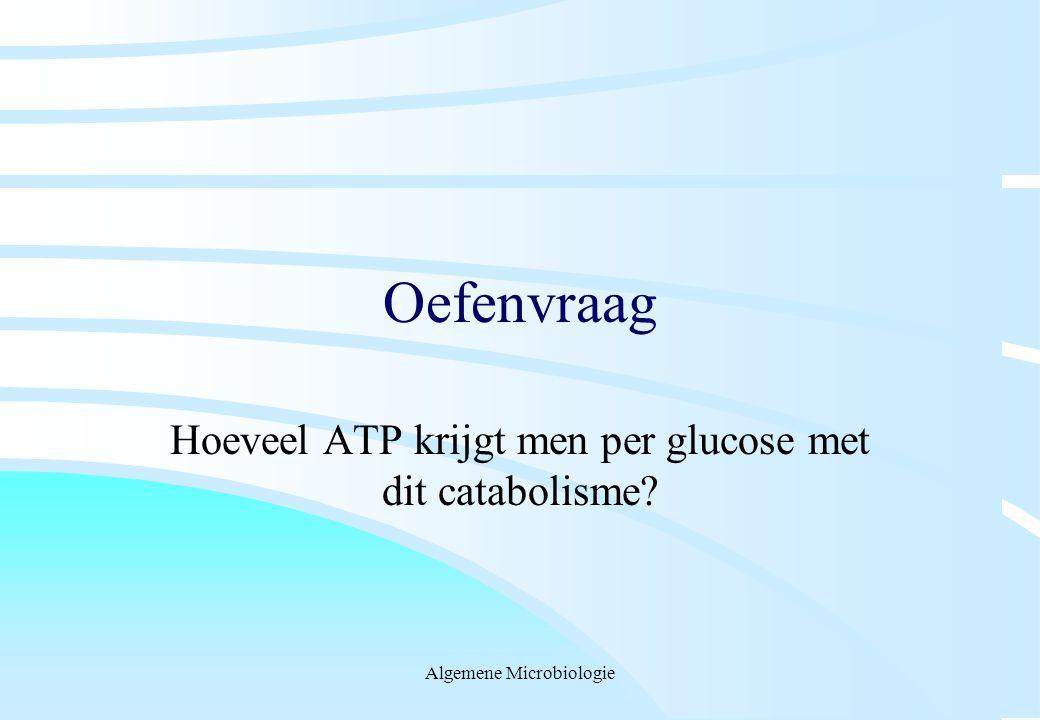 Algemene Microbiologie Oefenvraag Hoeveel ATP krijgt men per glucose met dit catabolisme?