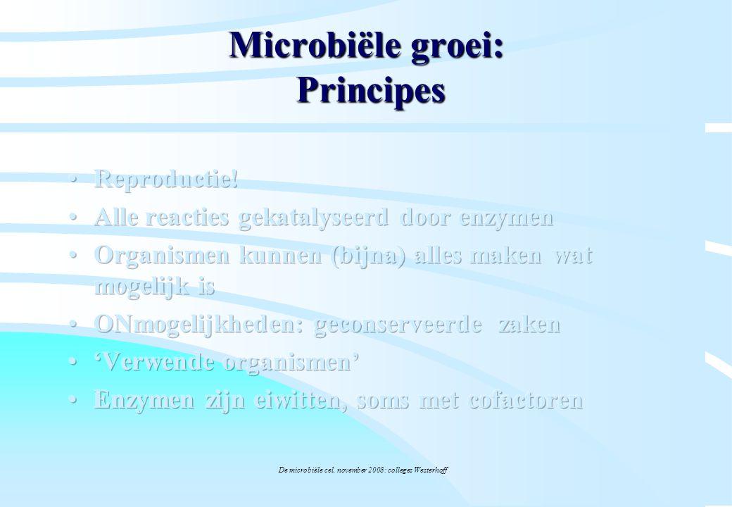 De microbiële cel, november 2008: colleges Westerhoff Microbiële groei: Principes