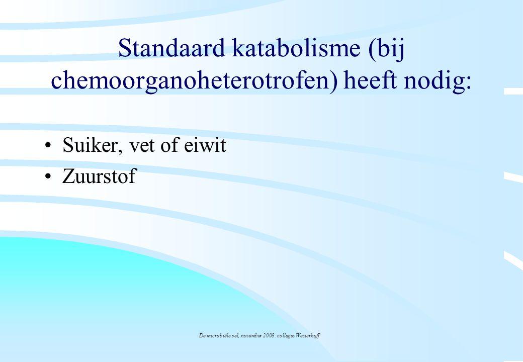 De microbiële cel, november 2008: colleges Westerhoff Standaard katabolisme (bij chemoorganoheterotrofen) heeft nodig: Suiker, vet of eiwit Zuurstof