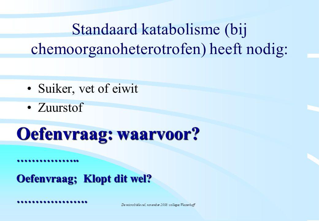 De microbiële cel, november 2008: colleges Westerhoff Standaard katabolisme (bij chemoorganoheterotrofen) heeft nodig: Suiker, vet of eiwit Zuurstof O