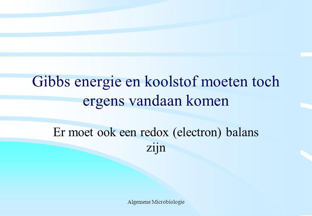 Algemene Microbiologie Gibbs energie en koolstof moeten toch ergens vandaan komen Er moet ook een redox (electron) balans zijn