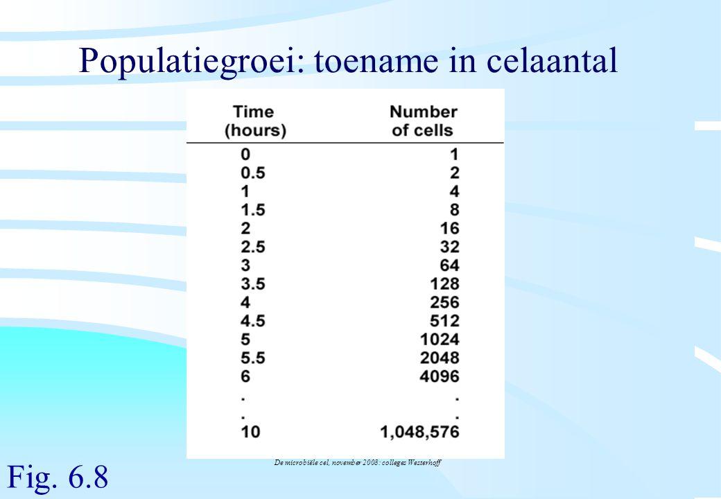 De microbiële cel, november 2008: colleges Westerhoff Populatiegroei: toename in celaantal Fig. 6.8