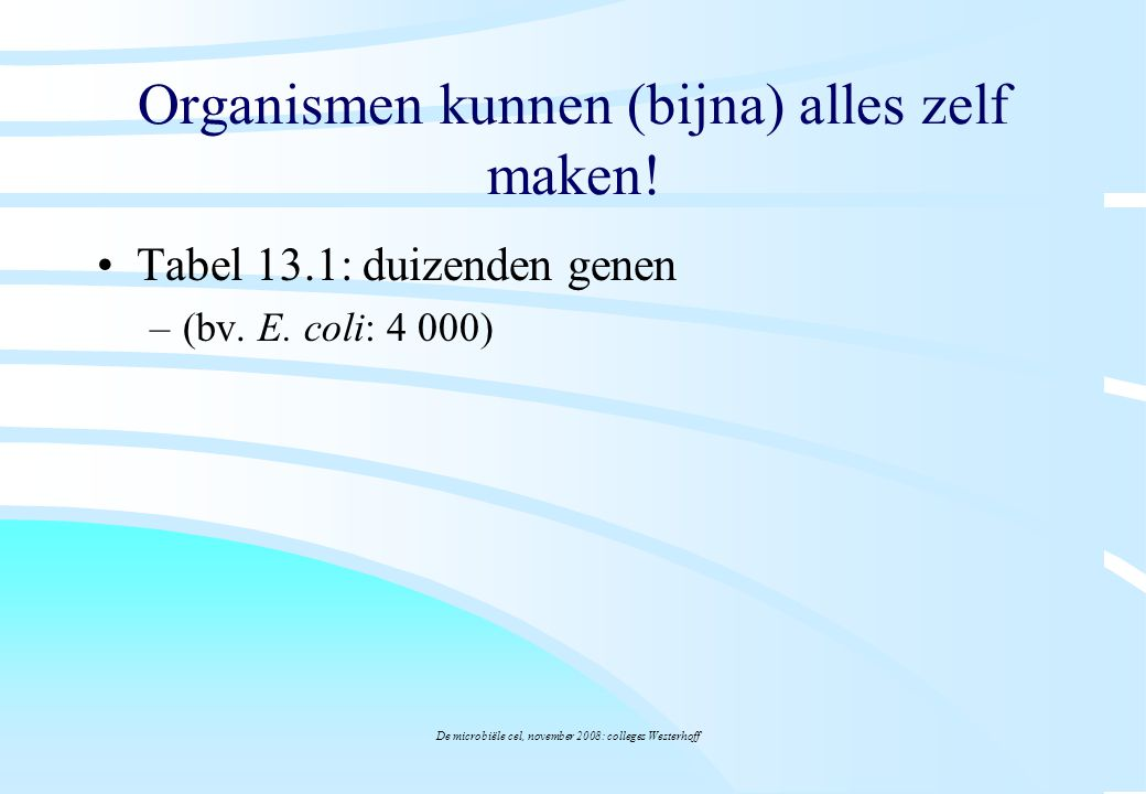 De microbiële cel, november 2008: colleges Westerhoff Organismen kunnen (bijna) alles zelf maken! Tabel 13.1: duizenden genen –(bv. E. coli: 4 000)