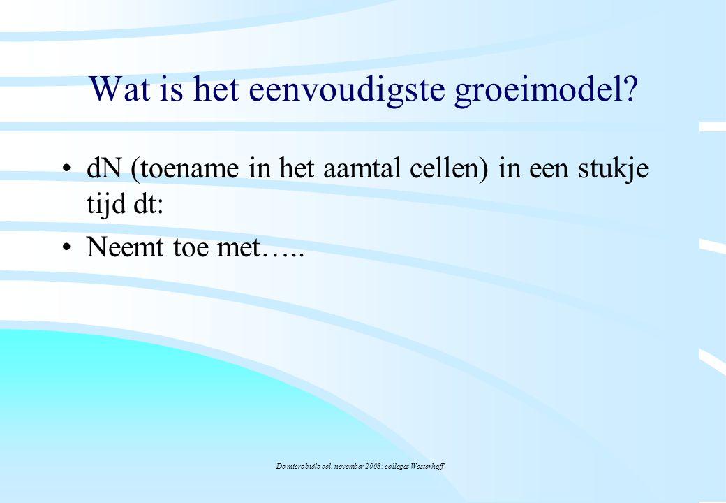 De microbiële cel, november 2008: colleges Westerhoff Wat is het eenvoudigste groeimodel? dN (toename in het aamtal cellen) in een stukje tijd dt: Nee