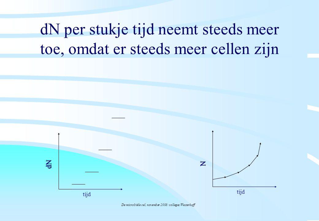 De microbiële cel, november 2008: colleges Westerhoff dN per stukje tijd neemt steeds meer toe, omdat er steeds meer cellen zijn tijd dN N