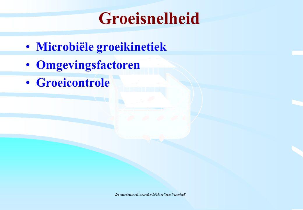 De microbiële cel, november 2008: colleges Westerhoff Groeisnelheid Microbiële groeikinetiek Omgevingsfactoren Groeicontrole