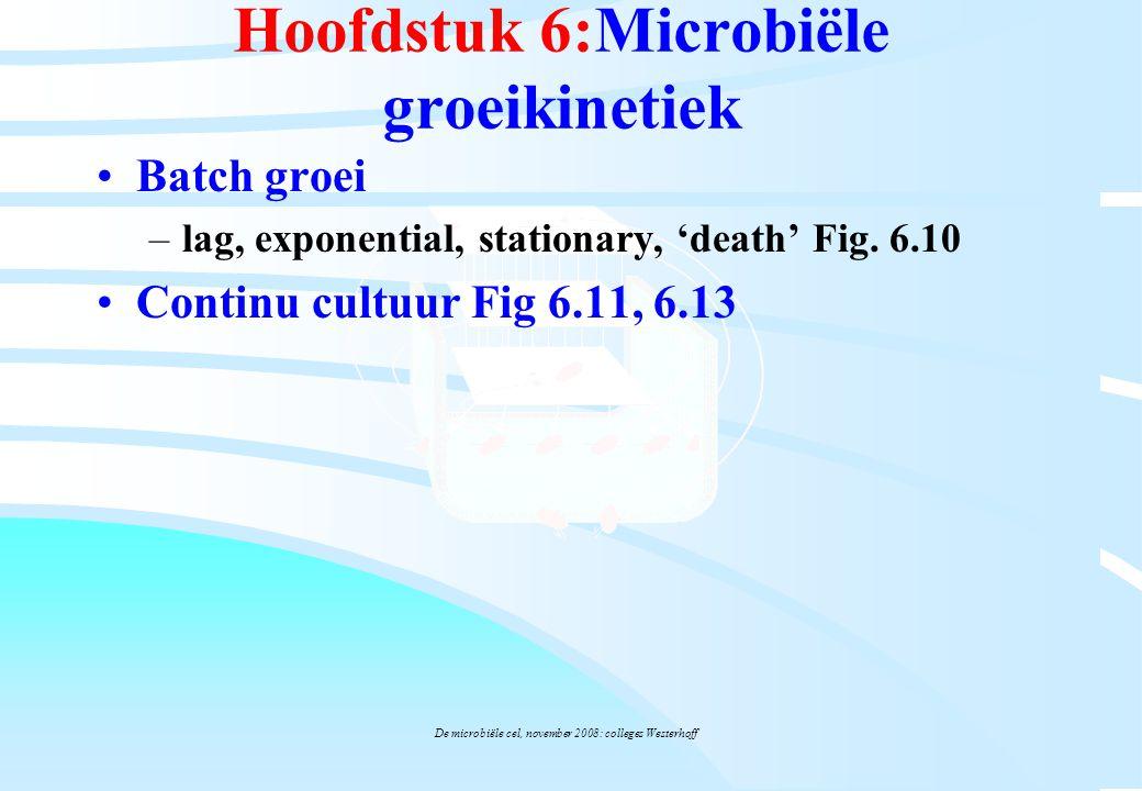 De microbiële cel, november 2008: colleges Westerhoff Hoofdstuk 6:Microbiële groeikinetiek Batch groei –lag, exponential, stationary, 'death' Fig. 6.1