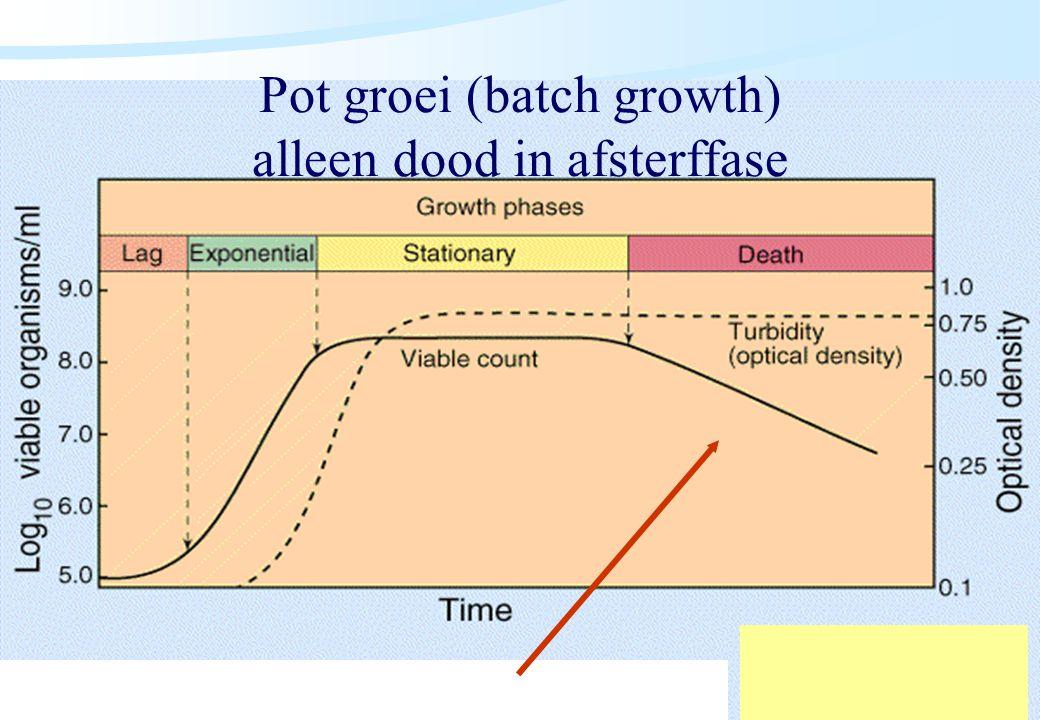 De microbiële cel, november 2008: colleges Westerhoff Pot groei (batch growth) alleen dood in afsterffase