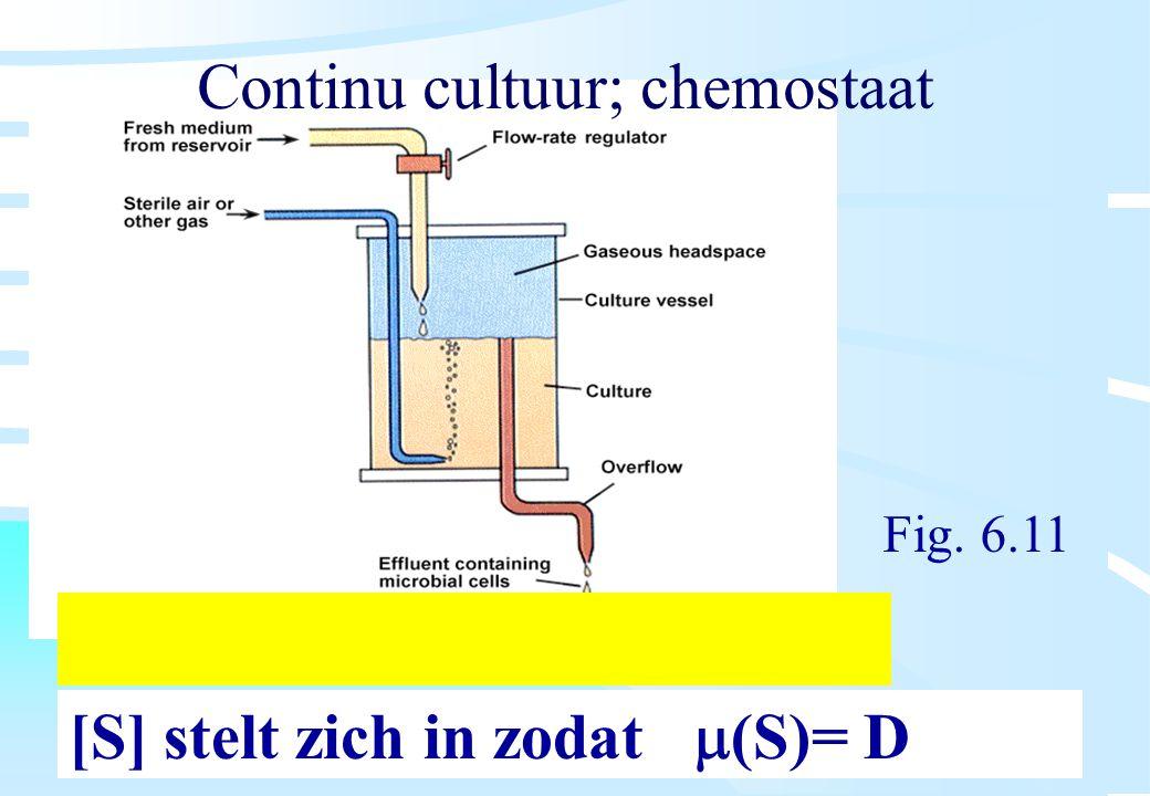 De microbiële cel, november 2008: colleges Westerhoff Continu cultuur; chemostaat [S] stelt zich in zodat  (S)= D Fig. 6.11
