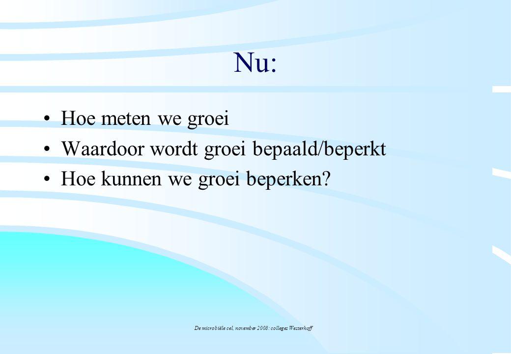 De microbiële cel, november 2008: colleges Westerhoff Nu: Hoe meten we groei Waardoor wordt groei bepaald/beperkt Hoe kunnen we groei beperken?