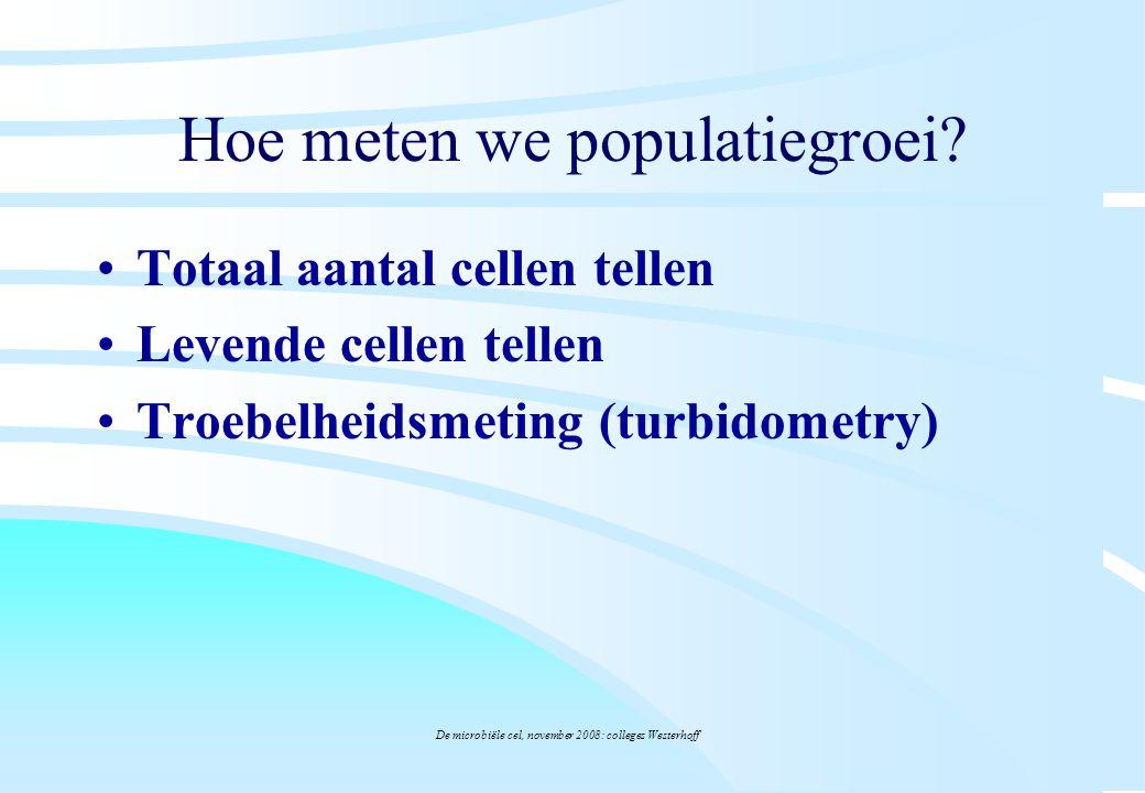 De microbiële cel, november 2008: colleges Westerhoff Hoe meten we populatiegroei? Totaal aantal cellen tellen Levende cellen tellen Troebelheidsmetin