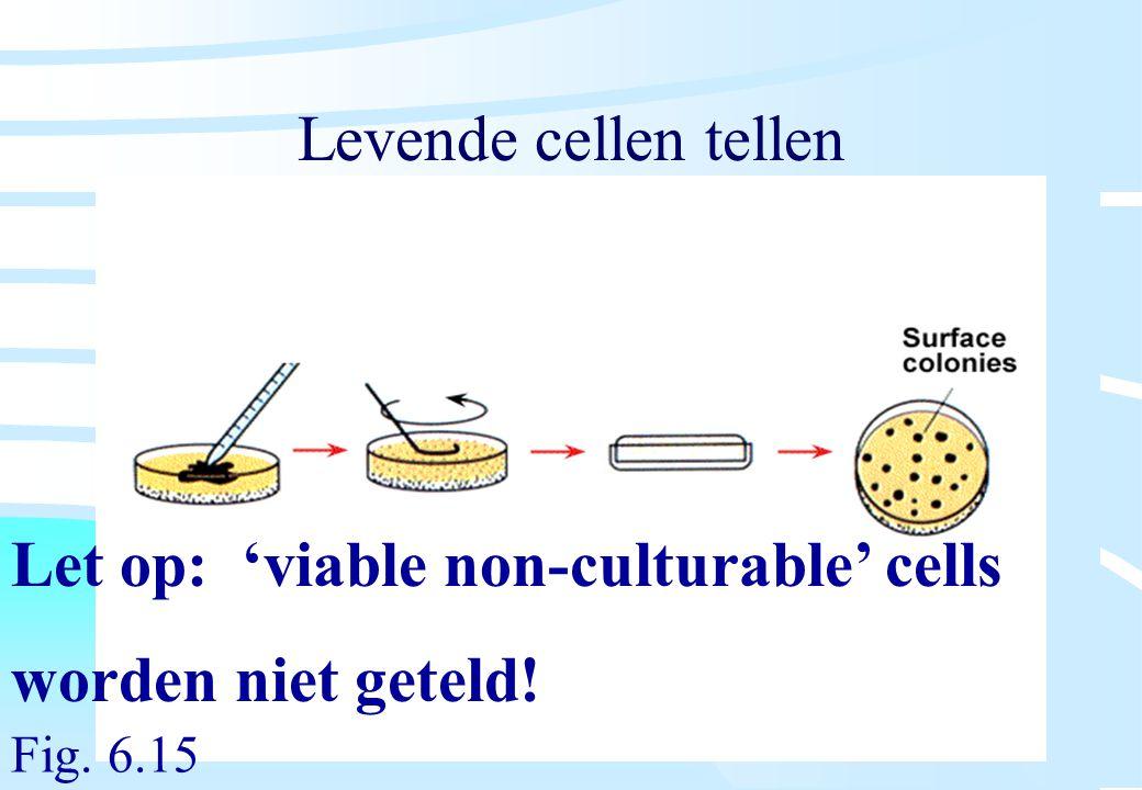 De microbiële cel, november 2008: colleges Westerhoff Levende cellen tellen Let op: 'viable non-culturable' cells worden niet geteld! Fig. 6.15