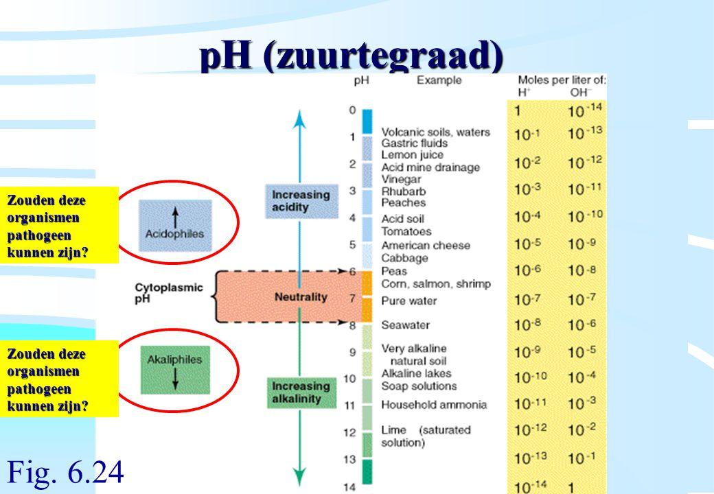 De microbiële cel, november 2008: colleges Westerhoff pH (zuurtegraad) Fig. 6.24 Zouden deze organismen pathogeen kunnen zijn?